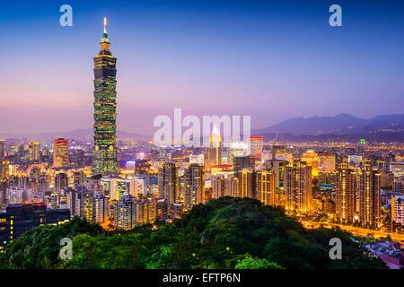 Taipei, Taiwan city skyline at twilight. - Stock Photo
