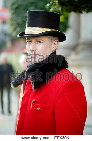 Knightsbridge Man Doorman United Kingdom Great Britain British UK Central London People Person Outdoor Exterior - Stock Photo