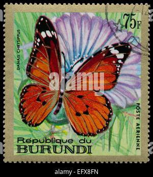REPUBLIC OF BURUNDI - CIRCA 1968: A stamp printed in Burundi shows a butterfly Danais chrysippus , circa 1968 - Stock Photo