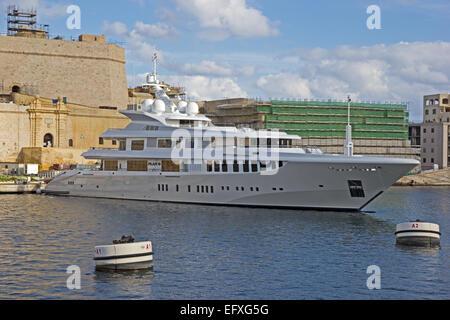 Super yacht, Plan B, moored in Grand Harbour, Valletta, Malta - Stock Photo