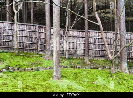 Kyoto, Japan. Ginkaku-ji (Jisho-ji), the Temple of the Silver Pavilion. The boundary fence of split bamboo - Stock Photo