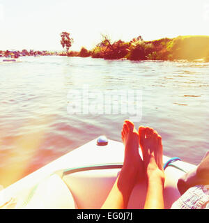 Woman relaxing on a sailing boat, California, America, USA - Stock Photo
