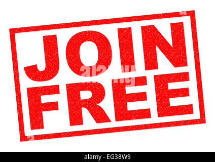 JOIN FREE red Rubber Stamp over a white background. - Stock Photo
