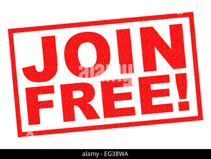 JOIN FREE! red Rubber Stamp over a white background. - Stock Photo