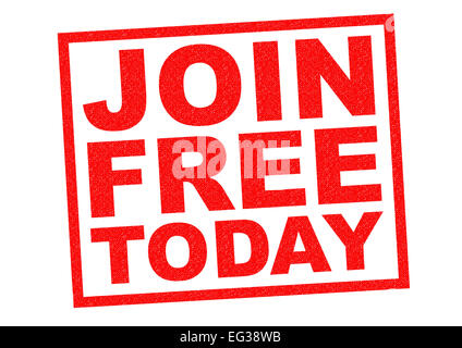 JOIN FREE TODAY red Rubber Stamp over a white background. - Stock Photo