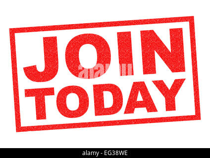 JOIN TODAY red Rubber Stamp over a white background. - Stock Photo