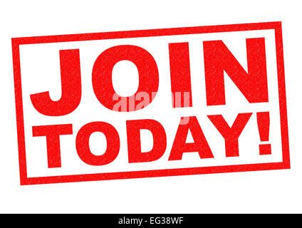 JOIN TODAY! red Rubber Stamp over a white background. - Stock Photo