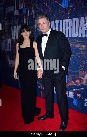 New York, NY, USA. 15th Feb, 2015. Alec Baldwin, wife Hilaria Baldwin at arrivals for Saturday Night Live SNL 40th - Stock Photo