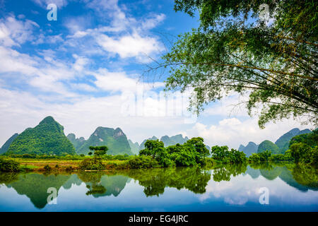 Karst Mountain landscape in Guilin, China. - Stock Photo