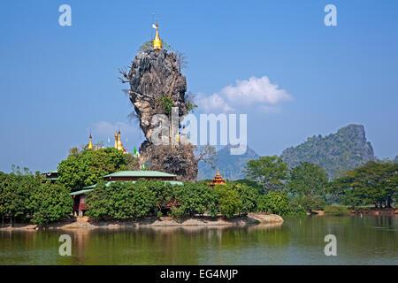 Kyauk Ka Lat Pagoda in the karst mountains near Hpa-an, Kayin State / Karen State, Myanmar / Burma - Stock Photo
