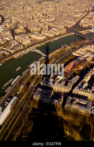 View from the top of the Eiffel tower, Paris - Stock Photo