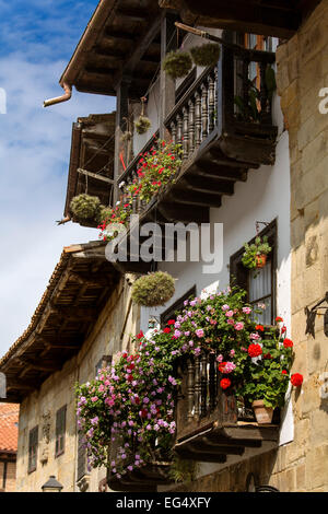 Typical houses Santillana del Mar Cantabria Spain - Stock Photo