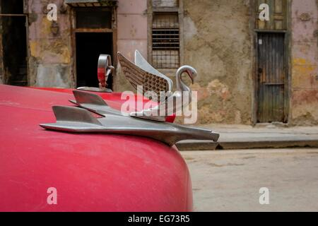 Red Cuban classic car details, Havana, Cuba - Stock Photo