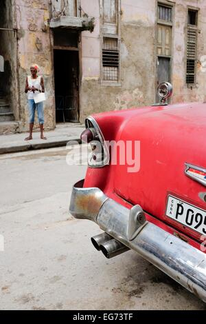 Cuban classic car parked in a central Havana street. Cuba. - Stock Photo