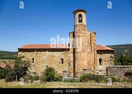 Romanesque collegiate church St. Martin of Elines cantabria Spain iglesia colegiata romanica de san martin de elines - Stock Photo