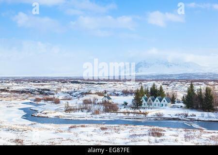 Þingvallabaer and River Oxara Þingvellir National Park in winter Iceland Europe - Stock Photo