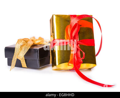 Two gift box bow red yellow black Isolated on white background - Stock Photo