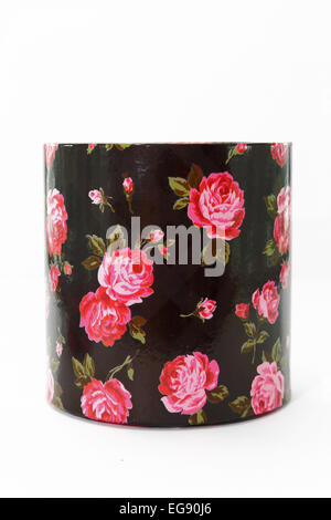 round black with roses gift box on a white background - Stock Photo