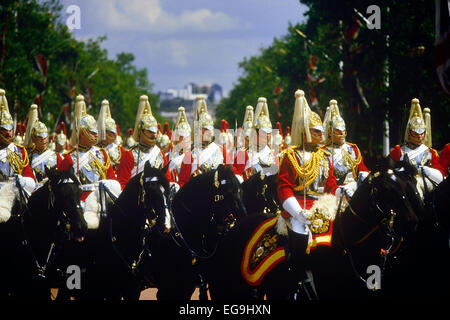 Members of the Household Cavalry at Trooping the Colour. The Mall. London. UK. Circa 1980's - Stock Photo