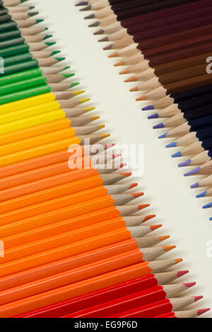 Collection of colored wooden pencils - Stock Photo