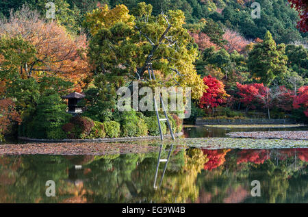 Ryoan-ji zen temple garden, Kyoto, Japan. The pond in the temple grounds in autumn - Stock Photo