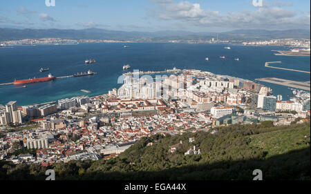 High density modern apartment block housing, Gibraltar, British overseas territory in southern Europe - Stock Photo