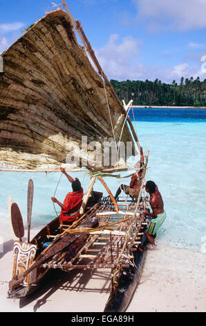 Kula Canoe, Kitava Island, Trobiand Islands, Papua New Guinea - Stock Photo