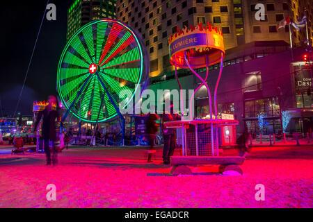 Ferris Wheel during Montreal en Lumière Festival, in 2015 - Stock Photo