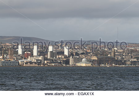 Dundee waterfront including Discovery Point Scotland February 2015 - Stock Photo