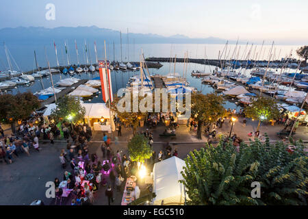 Lutry Wine Festival, Lavaux region, Lake Geneva, Swiss Alps,  Switzerland - Stock Photo