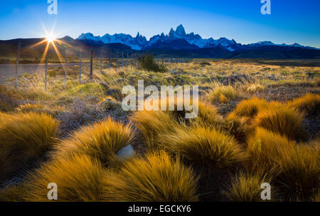 Mount Fitz Roy is a mountain located near El Chaltén village in Patagonia, on the border between Argentina and Chile - Stock Photo