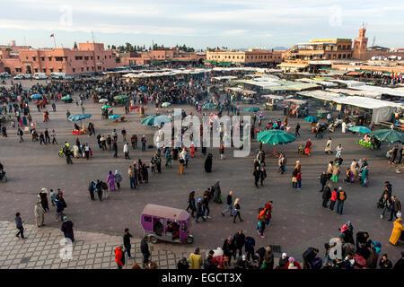 Djemaa el Fna or Jamaa el Fna square, Marrakech, Morocco - Stock Photo