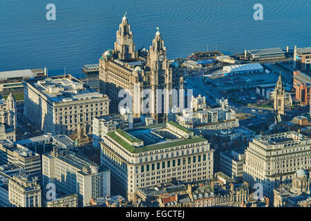 An aerial view of the Royal Liver Building in Liverpool. Completed in 1911 and former home of the Royal Liver Assurance - Stock Photo