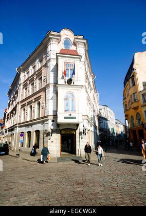 Elaborate corner building in the old town of Tallinn, Estonia - Stock Photo