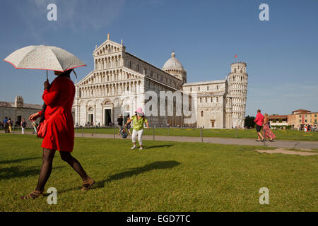 Duomo, cathedral, campanile, bell tower, Torre pendente, leaning tower, Piazza dei Miracoli, square of miracles, - Stock Photo