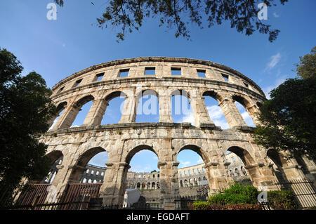 Roman Arena, Amphitheatre in Pula, Istria, Croatia - Stock Photo