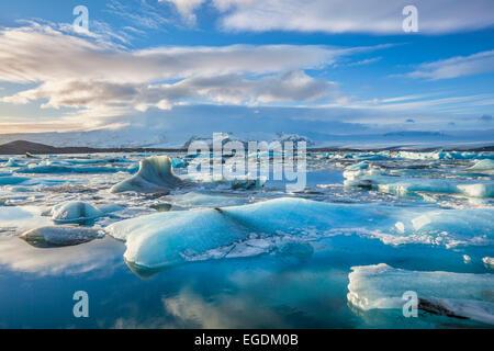 Jokulsarlon iceberg lagoon and mountains Iceland Europe - Stock Photo