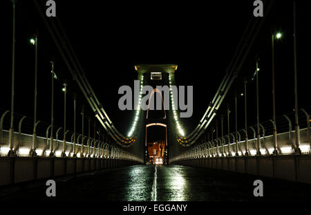 Clifton Suspension Bridge illuminated at night.  Bristol, December 2014 - Stock Photo