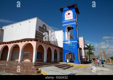 Abandoned shopping mall in the cruise ship port at Mahahual, Quintana Roo, Mexico - Stock Photo