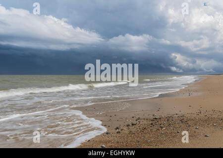 A stormy sky at the coast at Caister on Sea, Norfolk, England - Stock Photo
