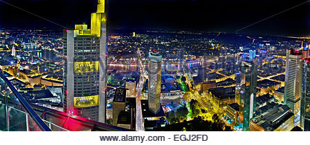 view from Maintower of HELABA to the Frankfurt skyline, Museumsuferfest at the Main shore, night, - Stock Photo