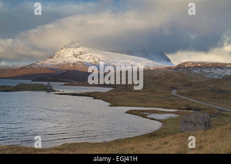 Loch Assynt with Ardwreck castle in Sutherland, North West Scotland - Stock Photo