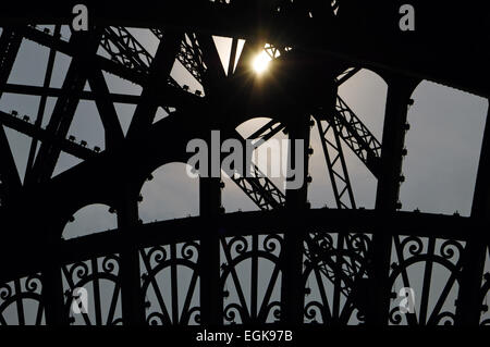 France. Paris. Eiffel Tower by Gustave Eiffel (1832-1923). Iron tower. Detail. - Stock Photo