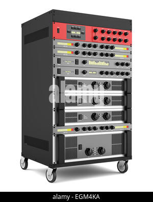 audio effects processors in a rack isolated on white backgroud - Stock Photo