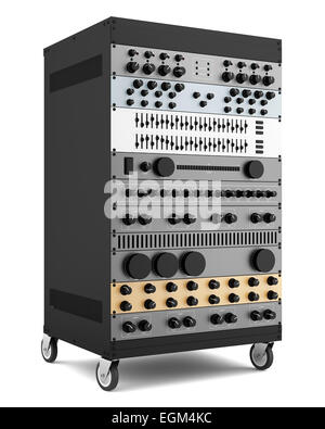 audio effects processors in a rack isolated on white background - Stock Photo