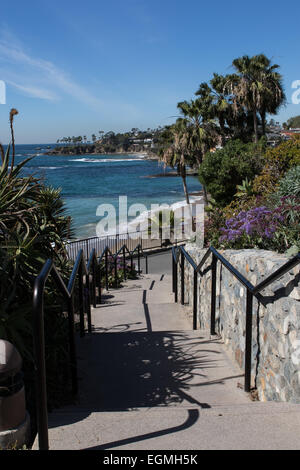 Steps leading to the beach through  Heisler Park in Laguna Beach California USA - Stock Photo