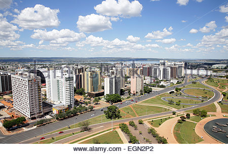 View of the Monumental Axis from the TV Tower in Brasilia, Brazil - Stock Photo