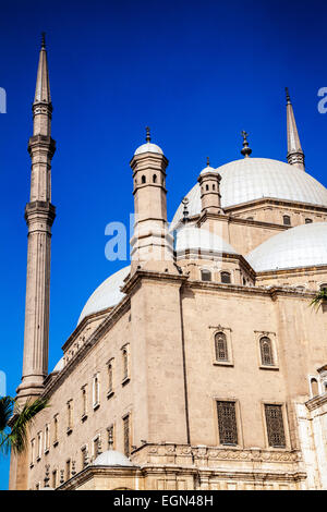 The domes of the great Mosque of Muhammad Ali Pasha or Citadel Mosque in Cairo. - Stock Photo
