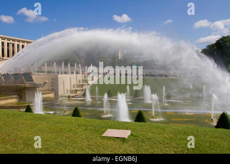 Water fountains in the Gardens of the Trocadero or Jardins du Trocadéro near Eiffel Tower, Paris, France in August - Stock Photo