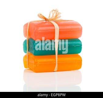 handmade colorful soap bars, Isolated on white background - Stock Photo